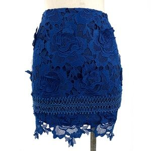 Lovers + Friends- Blue Floral Incense Lace Skirt